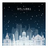 Winter night in Helsinki. Night city in flat style for banner, poster, illustration, game, background Royalty Free Stock Photography