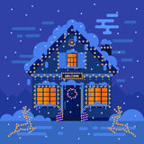 Winter night house and landscapes. Stock flat vector illustration Royalty Free Stock Photography