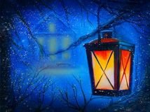 Winter night with house and lantern Royalty Free Stock Images