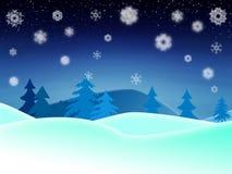 Winter night illustration Stock Photos