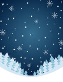 Winter night illustration with snowfall and trees Royalty Free Stock Photo
