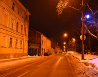 Winter night Kronstadt Stock Photos