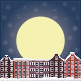 Winter night landscape. With moon Stock Photos