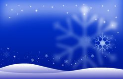 Winter night landscape. Background with stars glowing in the night sky on a clear winter night Stock Photography
