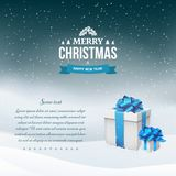 Winter night landscape background with snowfall and gift boxes with blue bow and ribbon. Happy New Year and Merry Christmas vintage badge. Snow falling down Stock Photo