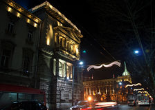 Winter night landscape of Belgrade Stock Photography