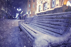 Winter night landscape in center of Moscow Royalty Free Stock Photo