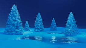 Winter night landscape with firs and frozen lake Royalty Free Stock Photo