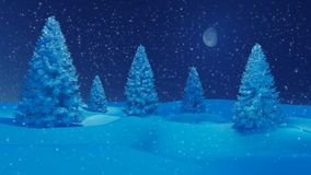 Winter night landscape with firs and half moon. Dreamlike winter landscape. Snow-covered spruces among snowbanks at snowfall night with a half moon in the sky Stock Photography