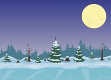 Winter night landscape with forest. Vector winter night landscape with forest and moon Royalty Free Stock Images