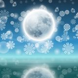 Winter night landscape with fullmoon Royalty Free Stock Photography