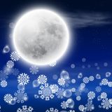 Winter night landscape with fullmoon Stock Photo
