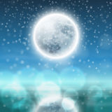 Winter night landscape with fullmoon. EPS10 vector Royalty Free Stock Photography