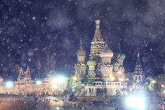 Winter night landscape in  Moscow Royalty Free Stock Photos