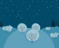 Winter night landscape seamless Royalty Free Stock Image