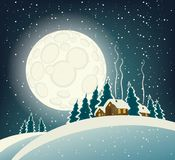 Winter night landscape with snow-covered village. Vector winter night landscape with village in the snowy forest in a full moon Stock Photography