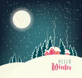 Winter night landscape with snow-covered village. Vector winter night landscape with village in the snowy forest in a full moon. Inscription Hello Winter Stock Image