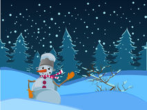 Winter night landscape. Snowman. With a bucket on his head. The nose-carrot. Mittens on his hands. Beautiful landscape. Winter. Holidays. Christmas. And New Stock Photography