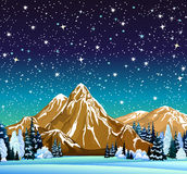 Winter night landscape with starry sky Royalty Free Stock Image