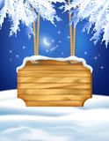 Winter Night Landscape Wooden Board Royalty Free Stock Images