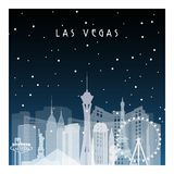 Winter night in Las Vegas. Royalty Free Stock Images