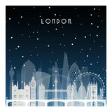 Winter night in London. Night city in flat style for banner, poster, illustration, game, background vector illustration