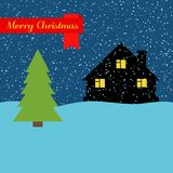 Winter night with lonely house and falling snow and a red ribbon with the inscription Happy Christmas. Vector illustration Royalty Free Stock Photo