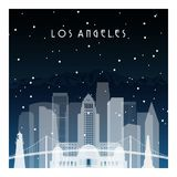 Winter night in Los Angeles. Royalty Free Stock Images