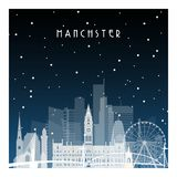 Winter night in Manchester. Royalty Free Stock Image