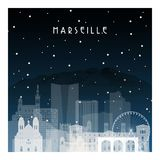 Winter night in Marseille. Night city in flat style for banner, poster, illustration, game, background Stock Photography
