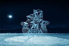 Winter night, monument an openwork  ship Royalty Free Stock Images