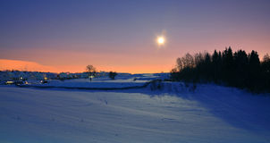 Winter night with moon Royalty Free Stock Photos