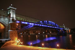 winter night Moscow foot bridge Royalty Free Stock Images