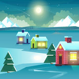 Winter night mountains and houses. Vector Illustration Stock Photos