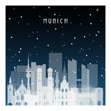 Winter night in Munich. Night city in flat style for banner, poster, illustration, background Stock Photography