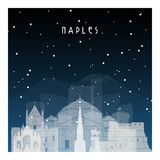 Winter night in Naples. Royalty Free Stock Photography