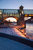 Winter night. Near the bridge in Moscow Royalty Free Stock Photography