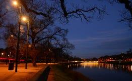 Winter night near lake. At yarra royalty free stock images