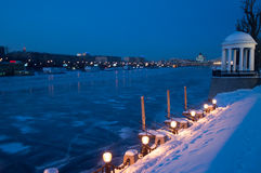 Winter night. Near the river in Moscow, russia Stock Photo