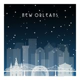 Winter night in New Orleans. vector illustration
