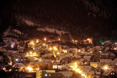 Winter night in old town Stock Image