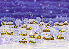 Winter night, painting Royalty Free Stock Images