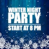 Winter Night Party 8PM Blue Background Vector Image Stock Images