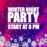 Winter Night Party 8PM Purple Background Vector Image Royalty Free Stock Photos