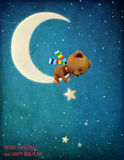 Winter night. Pastel winter night Greeting holiday card with Bear on moon and  stars. Computer graphics Royalty Free Stock Photo