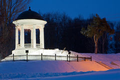 Winter night, pavilion in light Stock Images
