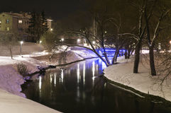 Winter night photography city park river. Royalty Free Stock Photography