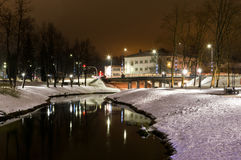 Winter night photography city park river Royalty Free Stock Photo