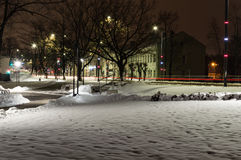 Winter night photography city park. On this night photography you can see some beautiful night in the park near the street. This park is allocated in the Eastern Royalty Free Stock Photography