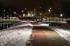 Winter night photography city park Stock Photography